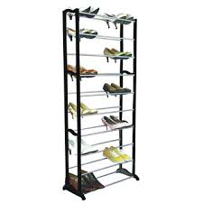 10 layer Metal Shoe Rack Made of Stainless Steel and Black PP