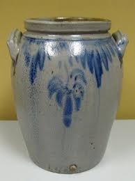 Stoneware Crock with Lid plus MERCURY Jar