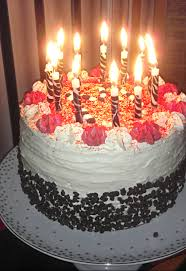 birthday cake with candles