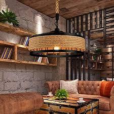 rustikal hanfseil hängele handgewebt vintage pendelleuchte deckenleuchte e27 retro industrie eisen kronleuchter schlafzimmer pendelle wohnzimmer