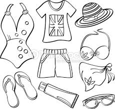 Summer Clothes Black And White Clipart