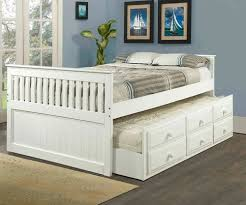 White full size trundle captains beds kids bedroom furniture
