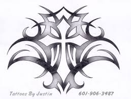 Awesome Tribal Cross Tattoo Design By Justin