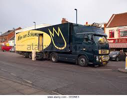 International Road Transport A Large Dutch Truck Delivering Flowers In Winter To Redcar Small Town