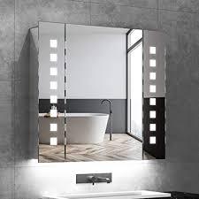 quavikey led spiegelschrank 65x60cm badezimmer spiegelschrank mit beleuchtung aluminium lichtspiegelschrank hinterbeleuchtung rasier steckdose