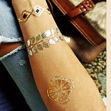 Temporary Metallic Tattoo Gold Silver Black Flash Tattoos Inspired 1PC High Quality Body Art Sticker Tatoo In From Beauty