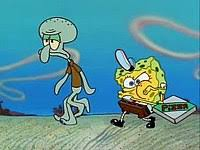 SpongeBob Right Performs A Beatbox While He And Squidward Left Deliver The Pizza On Foot In Middle Of Desert After Losing Their Boatmobile