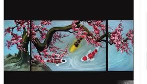 Japanese Koi Art Canvas Abstract Feng Shui Fish No Frame