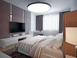 panoramablick auf ein schönes gemütliches schlafzimmer mit
