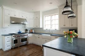 White Cabinets Dark Grey Countertops by Kitchen Antique White Cabinets With Black Appliances 2 97 Grey