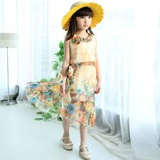 2015 Summer Girls Dresses Fashion Sleeveless Bohemian Style Beach Chiffon