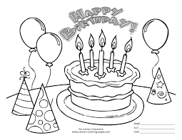 Free Birthday Coloring Pages Black White