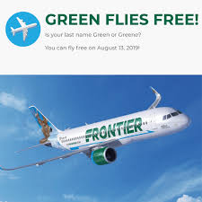 If Your Last Name Is Green(e), You Can Fly On Frontier For ... Frequent Flyer Guy Miles Points Tips And Advice To Help Frontier Coupon Code New Deals Dial Airlines Number 18008748529 Book Your Grab Promo Today Free Online Outback Steakhouse Coupons Today Only Save 90 On Select Nonstop Is Giving The Middle Seat More Room Flights Santa Bbara Sba Airlines Deals Modells 2018 4x4 Build A Bear Canada June Fares From 19 Oneway Clark Passenger Opens Cabin Door Deploying Emergency Slide Groupon Adds Frontier Loyalty