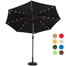 powered 32 led lighted outdoor patio umbrella with crank and tilt