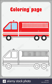 100 Fire Truck Game Truck In Cartoon Style Coloring Page Education Paper Game For