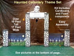 Halloween Cemetery Fence by Haunted Cemetery Theme Kit Entrance With Fence Cardboard Prop