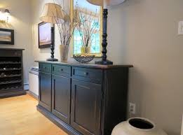 Black Dining Room Buffet Server With Two Desk Lamps