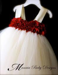 flower girl tutu dress red ivory flower girl dress