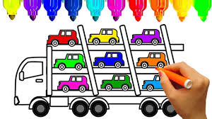 Learn Colors With Car Carrier Truck Coloring Pages Book Video For Kids KidsTV Jacky