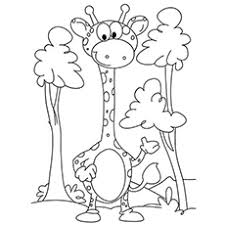 Baby Giraffe Among Trees Drinking Water Coloring Pages