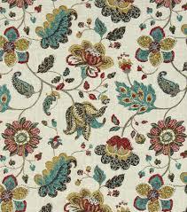 Jacobean Floral Design Curtains by Robert Allen Robert Allen Home Print Fabric Spring Mix Poppy
