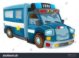 Cartoon Police Car - Truck - Isolated Background - Illustration For ...