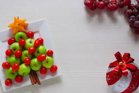 Design Decor Serving Of Fruit Themed Christmas Tree Made Green Apple Cherry Tomatoes And