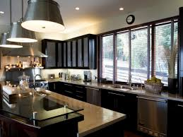 Light Gray Paint Colors In Kitchen With Dark Cabinets Glass Countertops And Bucket Pendant Lighting Fixtures