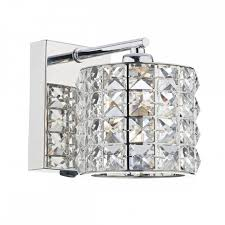 modern decorative wall light in polished chrome with shade