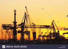 Germany, Hamburg (city), Harbor, Silhouette, Truck Mounted Cranes ...