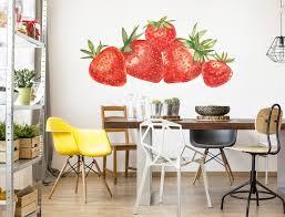 aquarell wandtattoo erdbeeren küche esszimmer