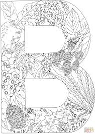 A Coloring Page Letter B With Plants Free Printable Pages