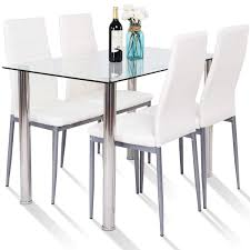 Amazon.com - Tangkula 5 PCS Dining Table Set Modern Tempered ... Hever Ding Table With 5 Chairs Bench Chelsea 5piece Round Package Aqua Drewing And Chair Set By Benchcraft Ashley At Royal Fniture Trudell Upholstered Side Signature Design Dunk Bright Lawson Piece Includes 4 Liberty Darvin Barzini Black Leatherette Coaster Value City Pc Kitchen Set A In Buttermilk Cherry East West The District Leaf Intercon Wayside Grindleburg Vesper Round Marble Ding Table Piece Set Brnan Amazoncom Tangkula Pcs Modern Tempered