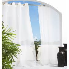 White Sheer Voile Curtains by Escape Indoor Outdoor Grommet Panel Walmart Com
