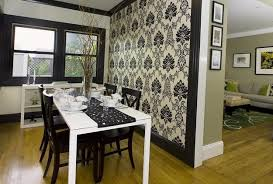 Black And White Wallpaper Dining Furniture For Room Decorating