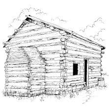 Log Cabin Coloring Sheet