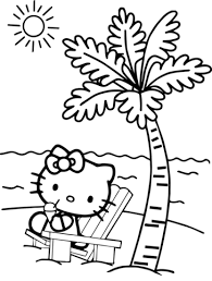 Click To See Printable Version Of Hello Kitty At The Beach Coloring Page