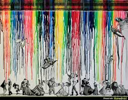 Id Love To Do A Simple Lead Pencil Drawing At The Base Of Canvas And Then Top It With Rainbow Coloured Crayons Pouring Down From