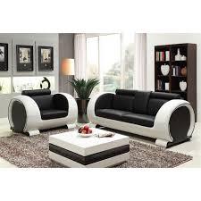 canapé cuir noir convertible ensemble canapé 3 places fauteuil en croûte de cuir