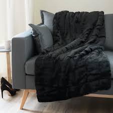 decke aus kunstfell schwarz 150x180 maisons du monde