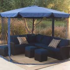 square offset umbrella mosquito net and base stay in the shade