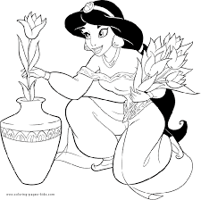 Princess Jasmin Holding Flowers Coloring Page