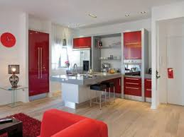 Red Black Kitchen Themes Built In Wine Rack Small Minimalist Wooden Cabinet Marble Tile Flooring Single Wall Microwave Countertop