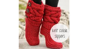 how to knit cable slippers youtube