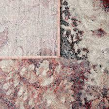 wohnzimmer teppich kurzflor esszimmer blumen muster boho