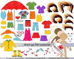 Dress Up For Summer Clothing And Paper Doll Clipart Set Digital Clip Art Pack 300 Dpi Swim Suit Rain Coat Sundress Sunglasses TShirt