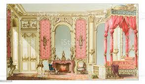 antike abbildung eines luxusschlafzimmer stock vektor und mehr bilder 19 jahrhundert