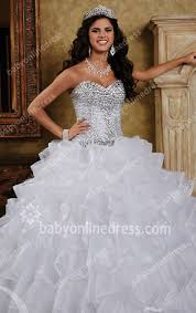 2017 sequins wedding dresses sweetheart sleeveless crystal organza