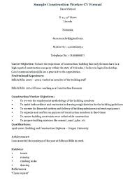 Sample For Construction Worker Resume Template Information