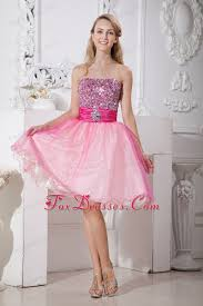 pink strapless knee length beading cocktail dresses
